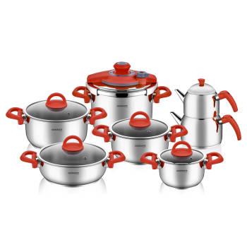 - Bernardo Steel 13 Parça Çelik Set Kırmızı