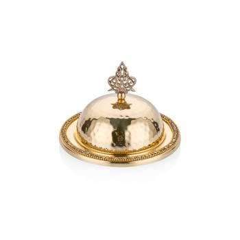 - Amber Altın Rengi Osmanlı Tarzı Kapaklı Sahan - 15 cm