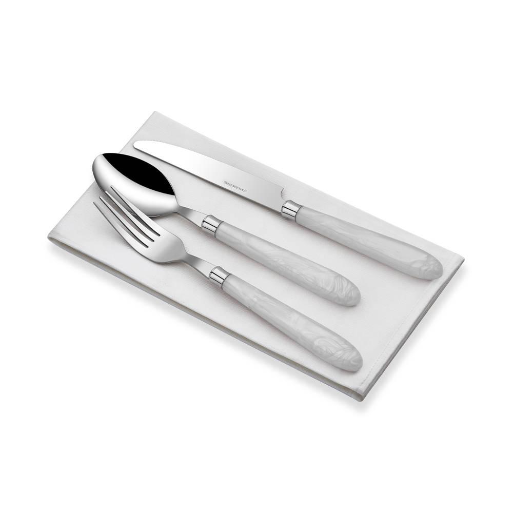 18 Parça Beyaz Saplı Çatal Kaşık Bıçak Seti