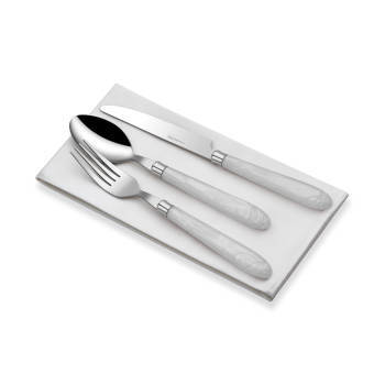 - 18 Parça Beyaz Saplı Çatal Kaşık Bıçak S