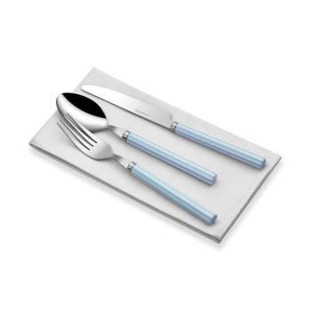 - 18 Parça Mavi-Beyaz Saplı Çatal Bıçak Takımı