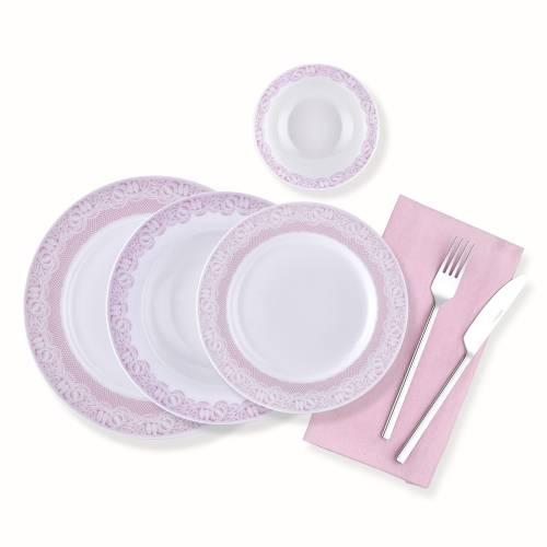 Pink Lace 6 Kişilik 24 Parça New Bone China Yemek Takımı