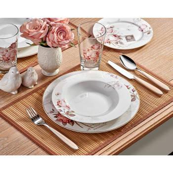 - Vintage Rose 6 Kişilik 24 Parça New Bone China Yemek Takımı