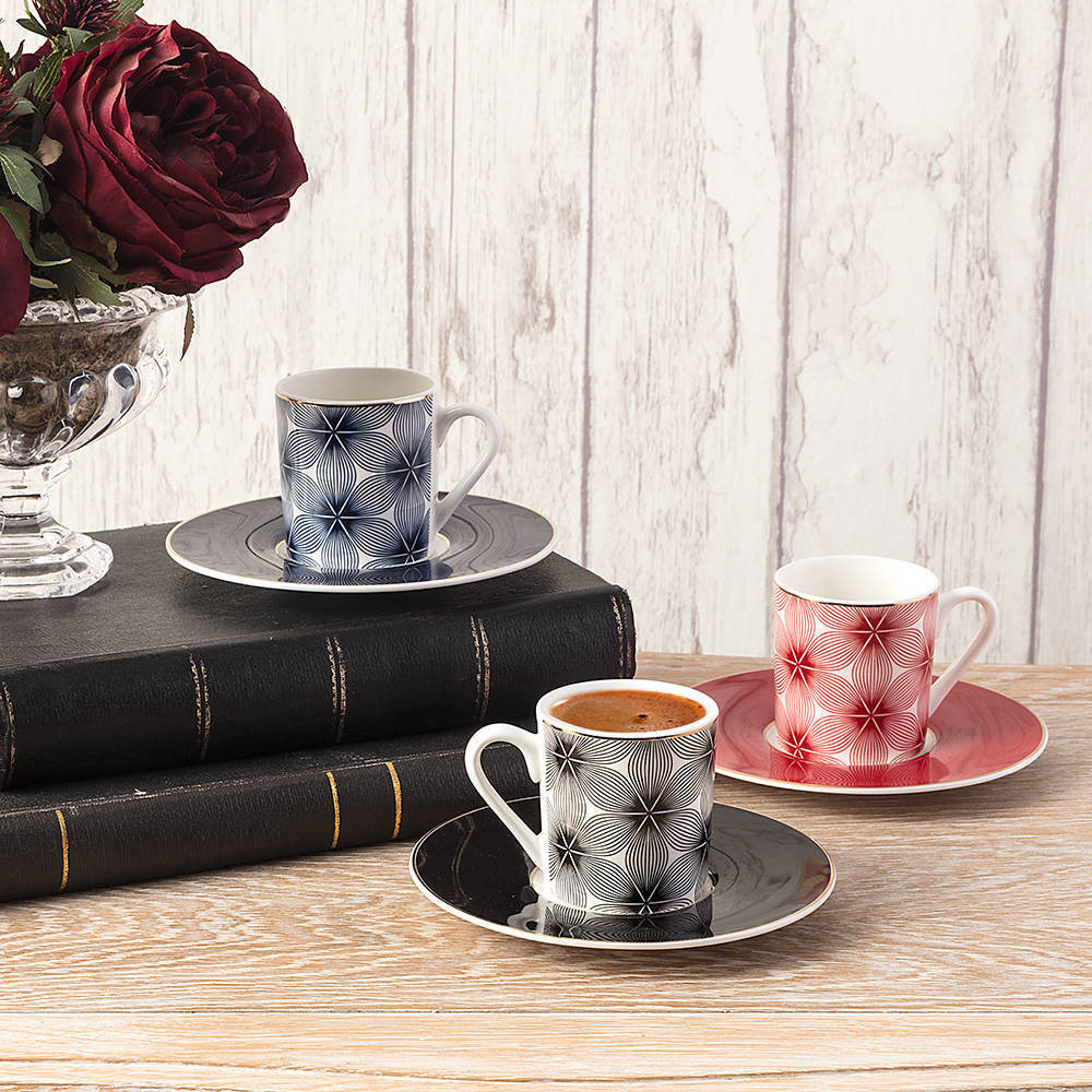3 Renkli 6 Kişilik 12 Parça New Bone China Kahve Fincan Takımı