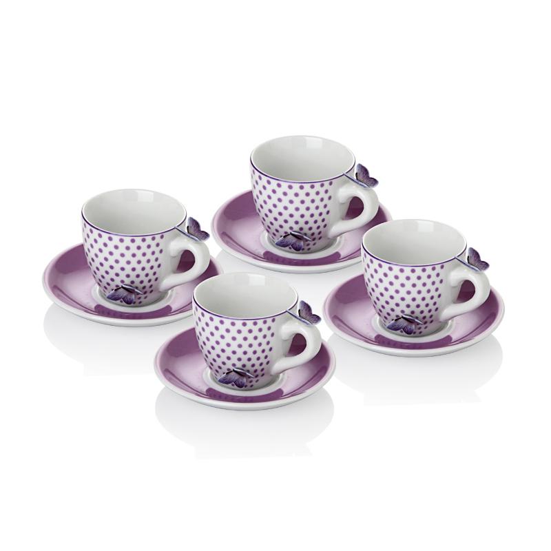 4'Lü Kelebekli Kahve Fincan Set