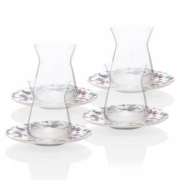 - 4 Parça Çiçek Desenli Çay Takımı