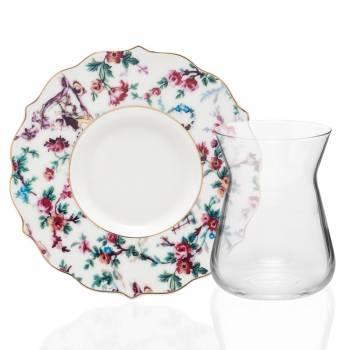 - 4 Parça Çiçek Desenli Çay Takımı (1)