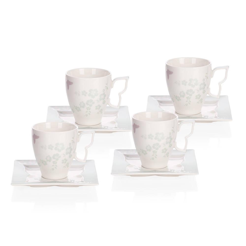 Kelebekli 4 Kişilik 8 Parça Bone Porselen Çay Fincanı Takımı