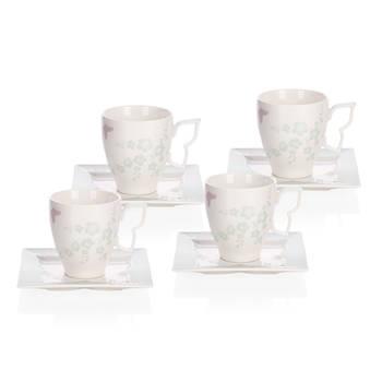 Kelebekli 4 Kişilik 8 Parça Bone Porselen Çay Fincanı Takımı - Thumbnail