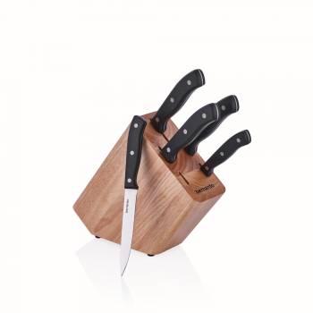 6'lı Siyah Saplı Ahşap Bıçak Bloğu - Thumbnail