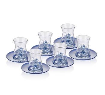 - Vintage Blue 6'lı Çay Bardağı