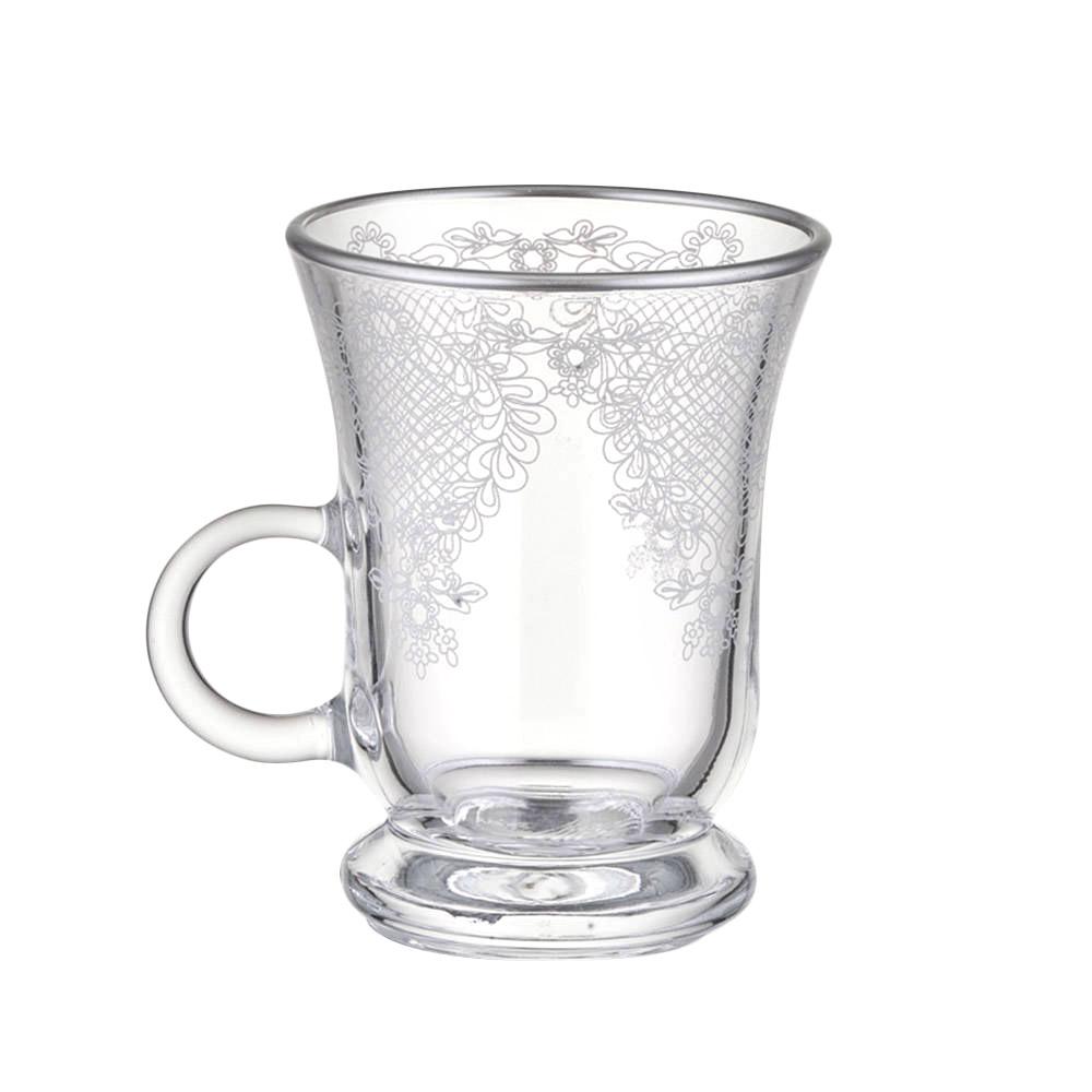 6 Kişilik Kulplu Cam Çay Bardağı Takımı - Platin