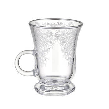 Bernardo - 6 Kişilik Kulplu Cam Çay Bardağı Takımı - Platin