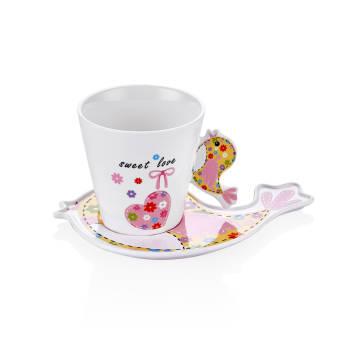 - 6'lı Çay Fincanı - Kuşlu (1)