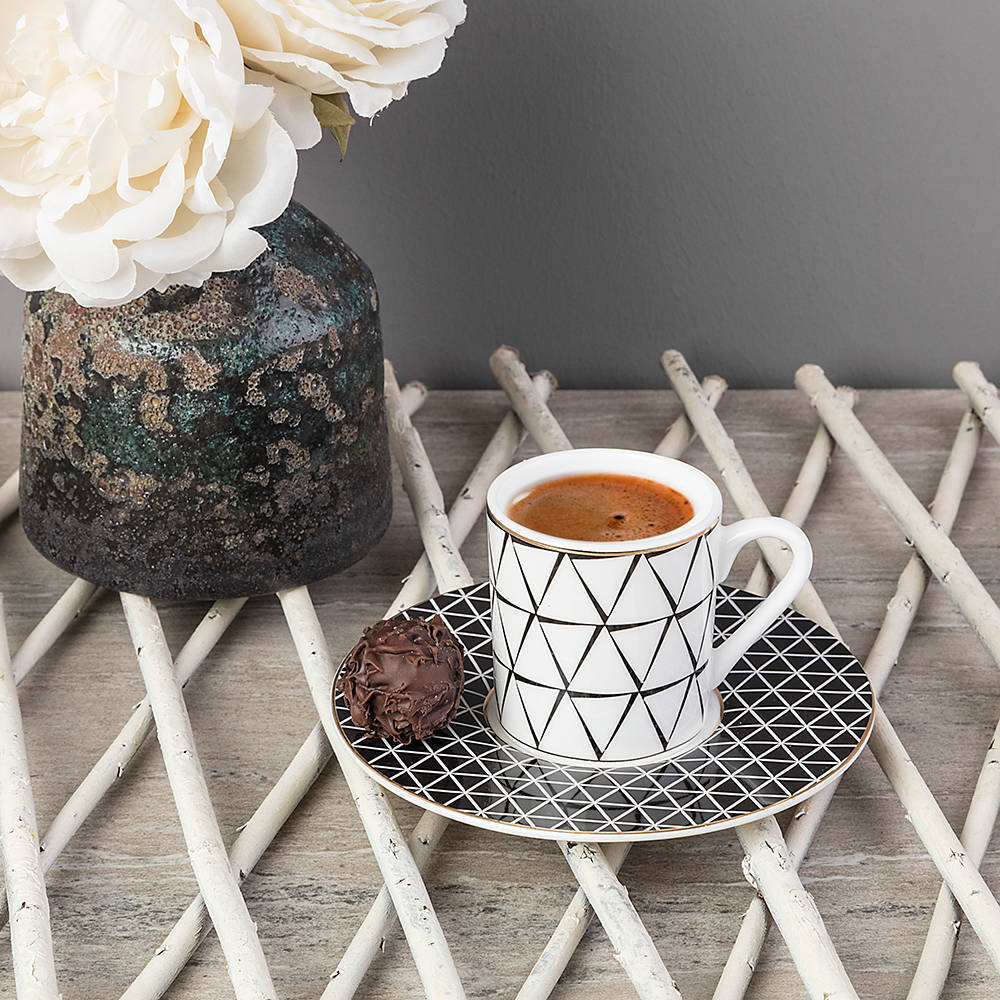 6 Kişilik 12 Parça New Bone China Kahve Fincanı Takımı - Siyah
