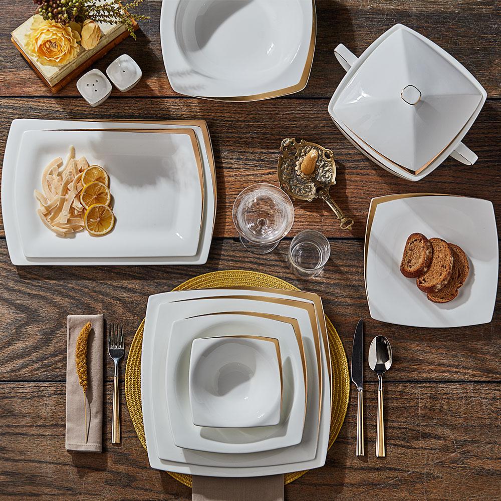 Absolute 12 Kişilik 59 Parça Bone China Yemek Takımı - Gold