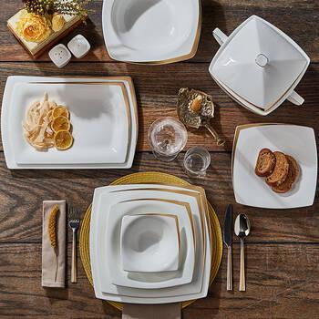 Absolute 12 Kişilik 59 Parça Bone China Yemek Takımı - Gold - Thumbnail