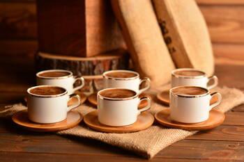 Affo 6 Kişilik Kahve Fincan Takımı - Altın Yaldızlı Bambum - Thumbnail