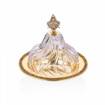 - Amber Altın Rengi Cam Kapaklı Dekoratif Sahan - 19 cm