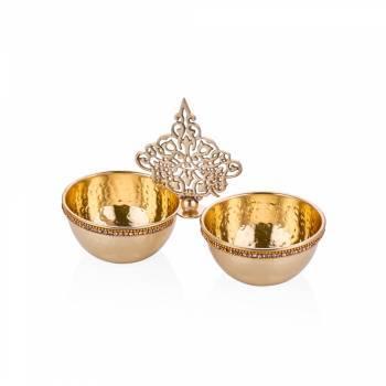 Amber Altın Rengi 2 Bölmeli Dekoratif Pirinç Kase - Thumbnail