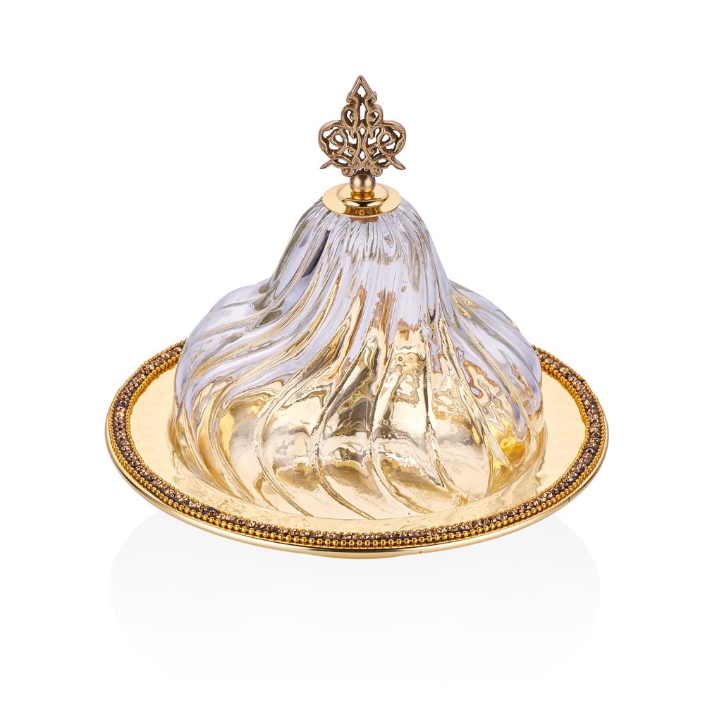 Amber Altın Rengi Cam Kapaklı Dekoratif Sahan - 20 cm