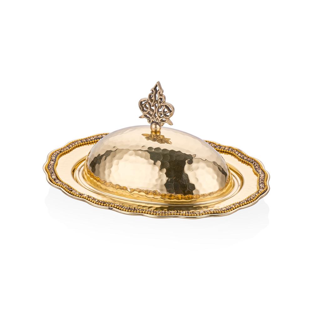 Amber Altın Rengi Kapaklı Dekoratif Pirinç Sahan - 22x16,5 cm