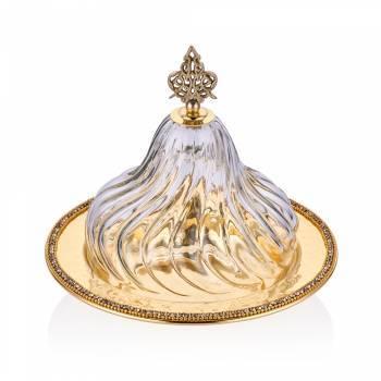 Amber Altın Rengi Cam Kapaklı Dekoratif Sahan - 24 cm - Thumbnail