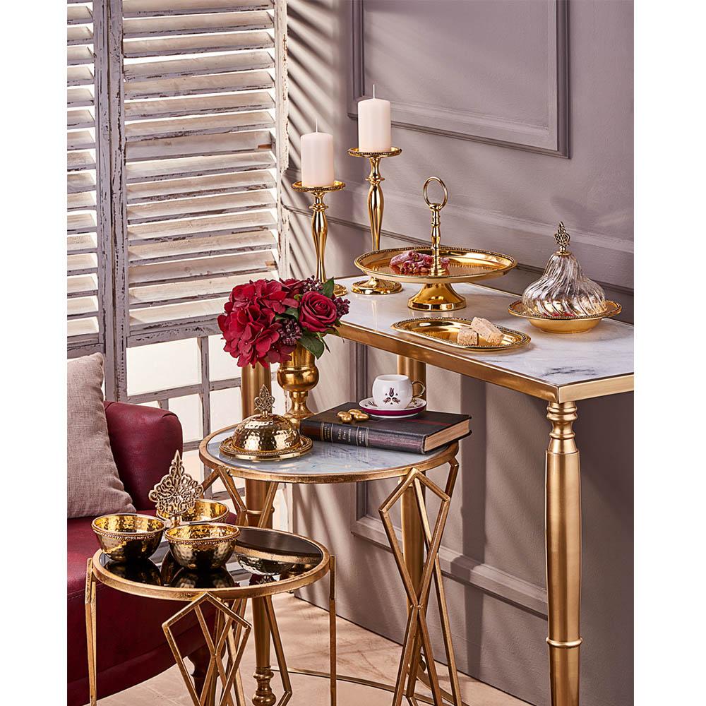 Amber Altın Rengi Cam Kapaklı Dekoratif Sahan - 24 cm