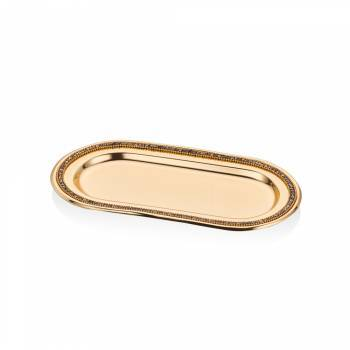 - Amber Altın Rengi Paslanmaz Çelik Dekoratif Tepsi - 28 cm