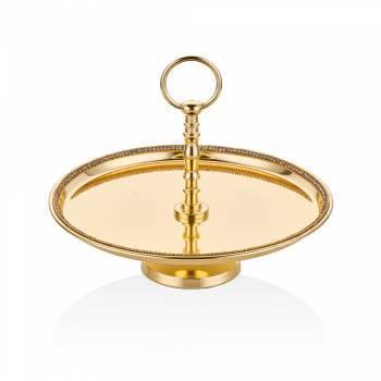 Amber Altın Rengi Ayaklı Dekoratif Tabak - 28 cm - Thumbnail