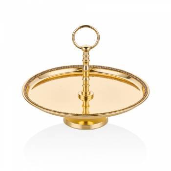 Bernardo - Amber Altın Rengi Ayaklı Dekoratif Tabak - 28 cm