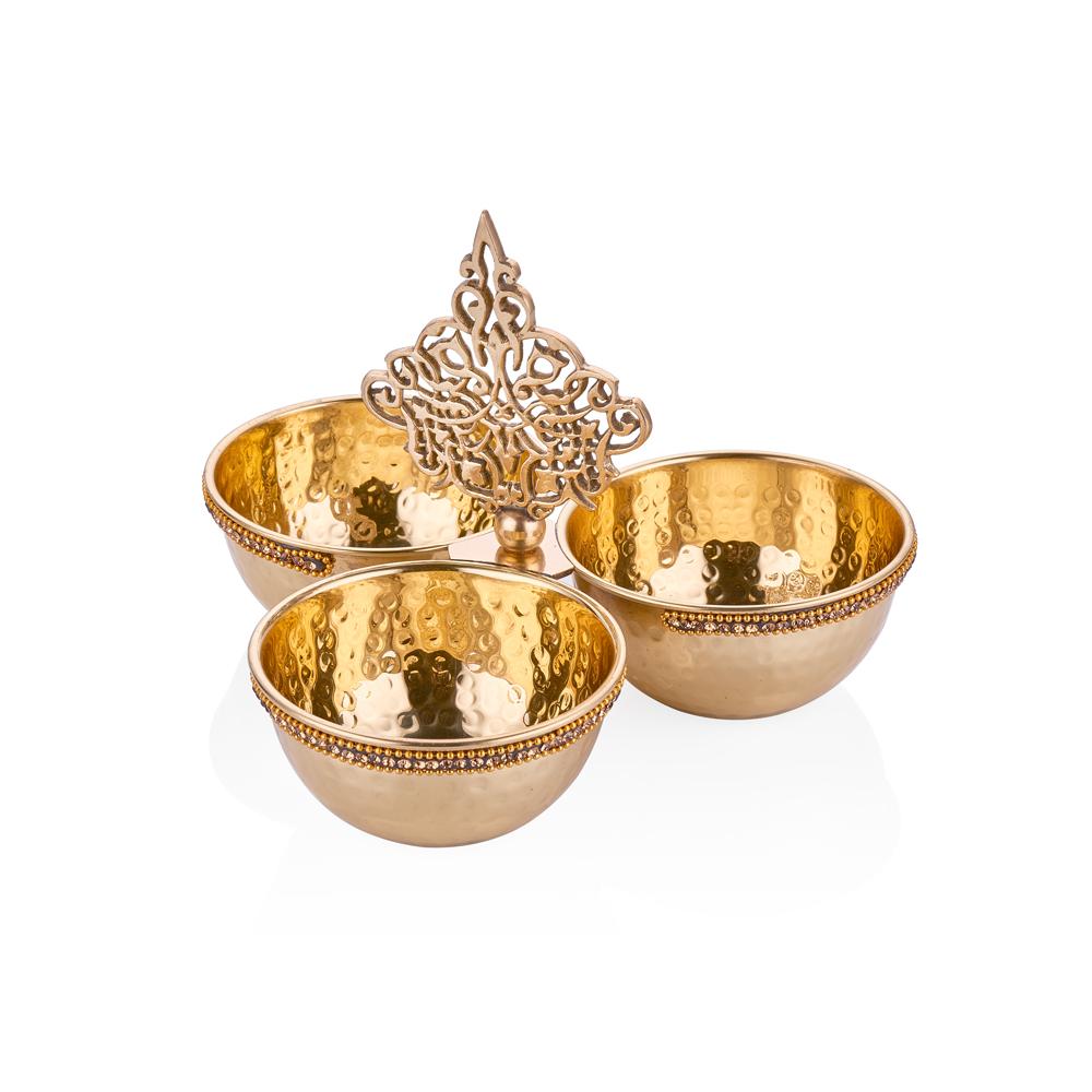 Amber Altın Rengi 3 Bölmeli Dekoratif Pirinç Kase