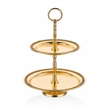 Bernardo - Amber Altın Rengi Dekoratif Oval Katlı Stant - 31 cm