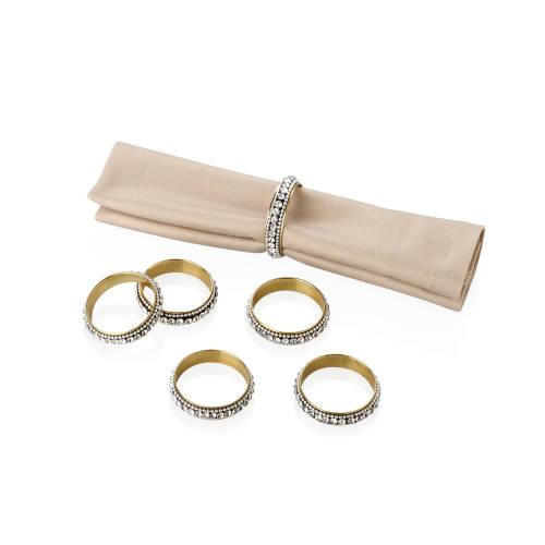 Amber Gümüş Rengi 6 Parça Taşlı Peçete Halkası