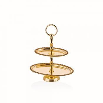 Amber Altın Rengi Dekoratif Oval Katlı Stant - Küçük Boy