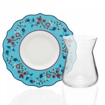 Bernardo - Askania 4 Kişilik Porselen & Cam Çay Takımı - Mavi (1)