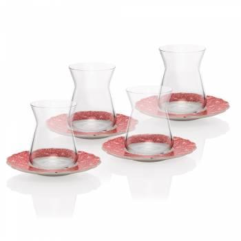 Bernardo - Askania 4 Kişilik Porselen & Cam Çay Takımı - Kırmızı