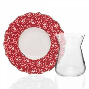 Bernardo - Askania 4 Kişilik Porselen & Cam Çay Takımı - Kırmızı (1)