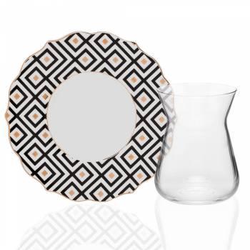 - Askania 4 Kişilik Porselen & Cam Çay Takımı - Siyah & Gold (1)