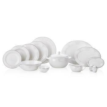 Azimut White 12 Kişilik 76 Parça Royal Bone China Yemek Takımı