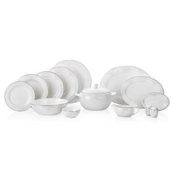 Azimut White 12 Kişilik 76 Parça Royal Bone China Yemek Takımı - Thumbnail