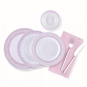 - Bernardo Pink Lace 24 Parça Yemek Takımı