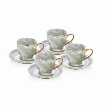 - Bernardo 4 lü Mermer Görünümlü Kahve Fincan Seti