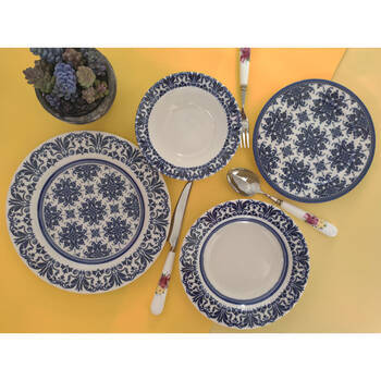 - Blue Floral 6 Kişilik 24 Parça Porselen Yemek Takımı