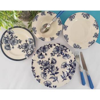 - Blue Flowers 6 Kişilik 24 Parça Porselen