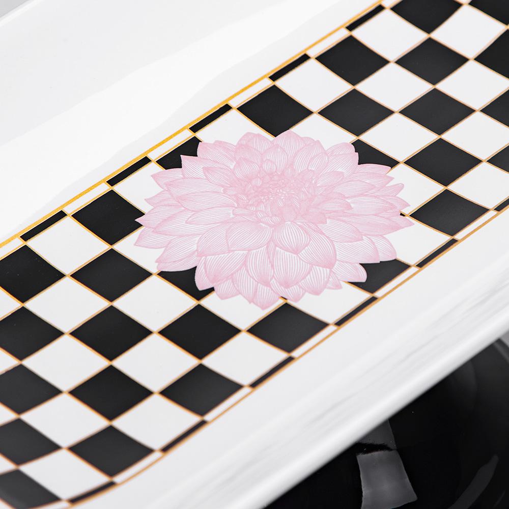 Blume Ayaklı Servis Tabağı - Damalı Pembe
