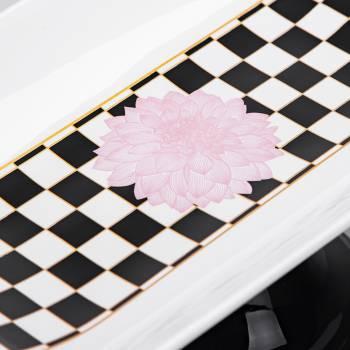 - Blume Ayaklı Servis Tabağı - Damalı Pembe (1)