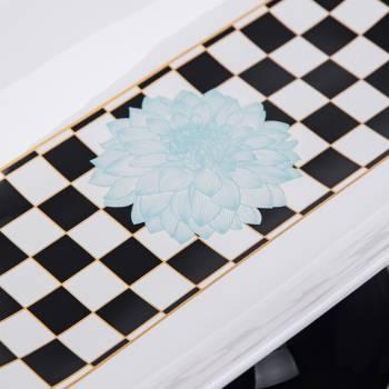 Blume Ayaklı Servis Tabağı - Damalı Turkuaz - Thumbnail