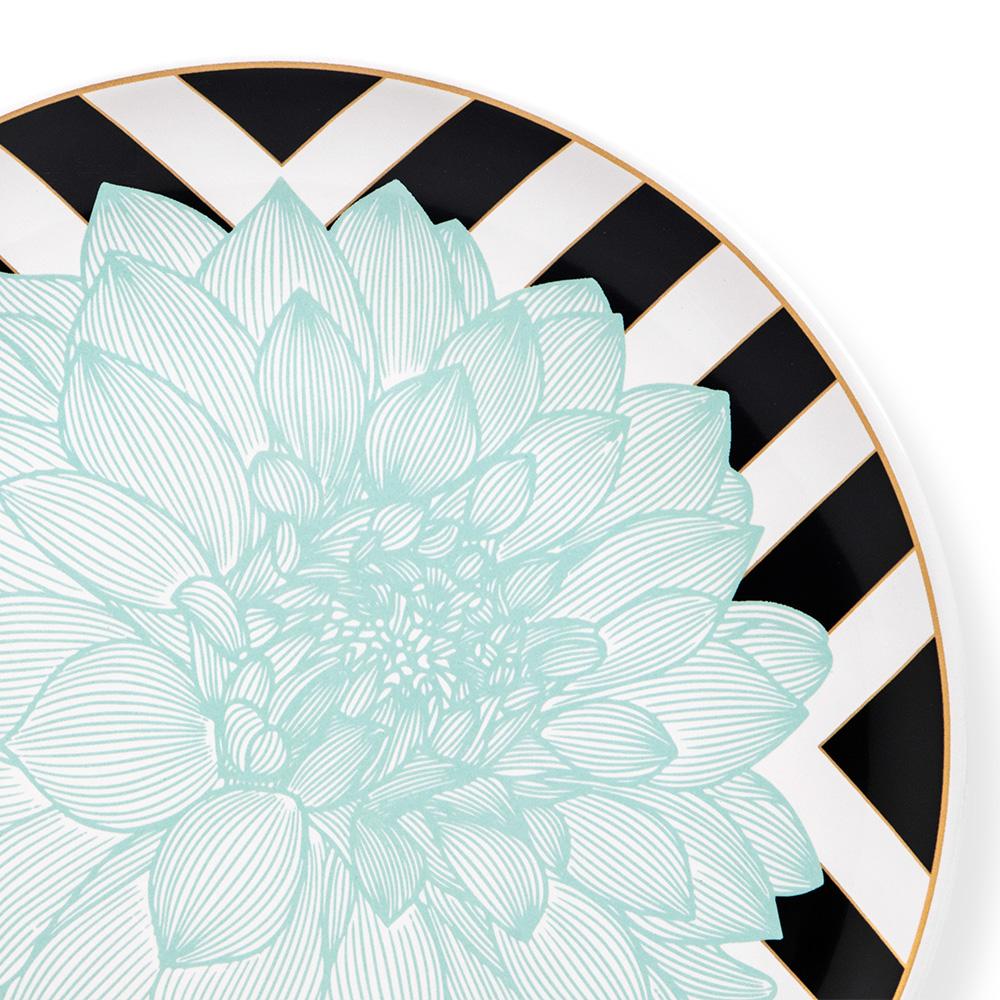 Blume Servis Tabağı - Çizgili Turkuaz