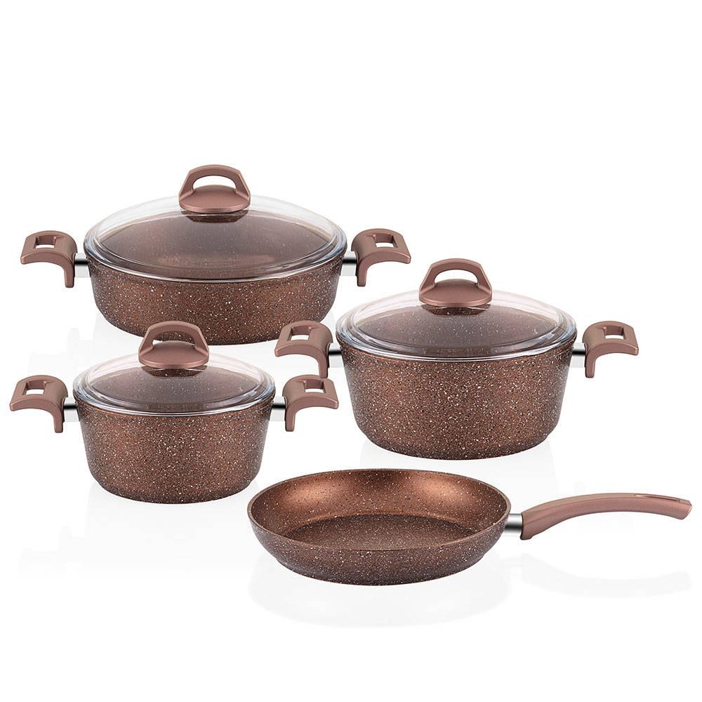 Browny 7 Parça Granit Tencere & Tava Seti - Bronz